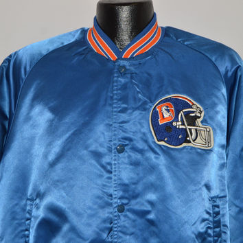 80s Denver Broncos Chalk Line Satin Jacket Medium