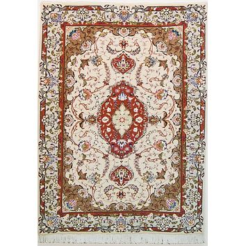 Oriental Tabriz  Fine Persian Natural Wool and Silk Rug, Beige and Red Rug, 3' x 5' Rug