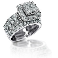 New 2.2 Ct Stunning Zirconia Solid 925 Sterling Silver Halo Wedding Ring