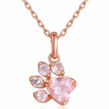 Cute Cat Necklace Paw Rose Gold Pendants