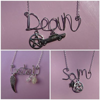 Customised Supernatural Character Wire Word Necklace - Sam/Dean/Castiel