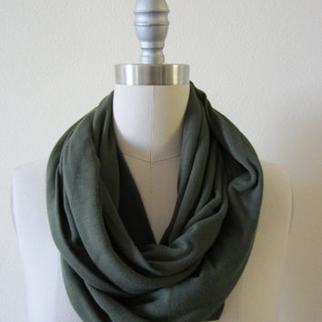 Handmade Extra Wide Soft Unisex Army Green Cotton Poly Jersey Knit Infinity Scarf Loop Scarf Circle Scarf- Fashion Unisex Scarf
