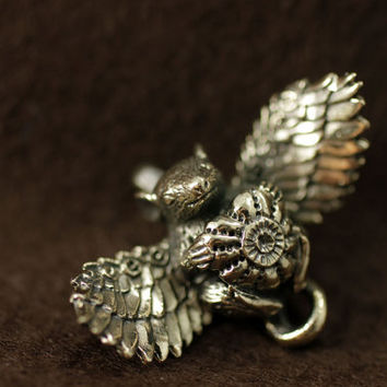 Winged rat bronze pendant necklace cute animal fantasy valentine for rat lover mouse