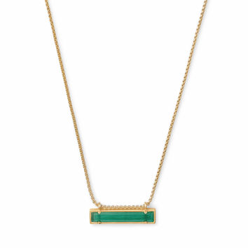 Leanor Gold Pendant Necklace In Emerald Cats Eye| Kendra Scott
