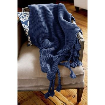 Ben and Jonah Europa Throw Blanket with Long Fringes (Navy)