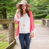 Shawl Cardigan with Tassel Patchwork and Lace