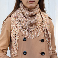 Melange Brown Fringed Scarf  - Knitted Wrap - Neckerchief - Neck warmer - Cowl - Kerchief