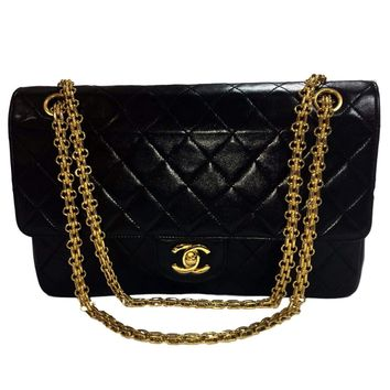 Chanel Black Double Flap Large Gold Chain Bag.  Lovely!