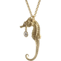 Gold Large Seahorse With Diamond Charm Pendant Necklace