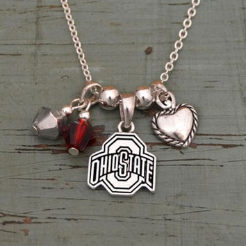 Ohio State Buckeyes Crystal Bead Duo & Heart w/Logo Charms Necklace