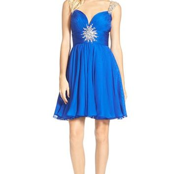 Junior Women's Mac Duggal 'Starburst' Embellished Skater Dress,