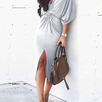 Light Grey Ruffle Cut Out Irregular Plunging Neckline Midi Dress