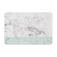 "KESS Original ""Mint Marble Fade"" White Green Memory Foam Bath Mat"