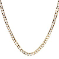 Men's 14k Gold Finish One Row Prong Set Heavy Tennis Necklace
