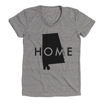 Alabama Home Womens Athletic Grey T Shirt - Graphic Tee - Clothing - Gift