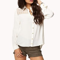 Embroidered Lace Paneled Shirt