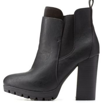 Black Layered Lug Sole Chelsea Booties by Charlotte Russe