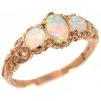 Womens Solid 14K Rose Gold Natural Fiery Opal English Victorian Style Trilogy Ring - Finger Sizes 4 to 12 Available