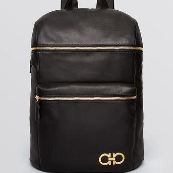 Salvatore Ferragamo Nevada Gold Gancini Backpack