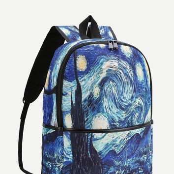 Space Print Canvas Backpack