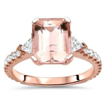 Noori 14k Rose Gold 2 1/2ct TGW Emerald Cut Morganite Trillion Cut Diamond 3 Stone Engagement Ring - Pink | Overstock.com Shopping - The Best Deals on Gemstone Rings