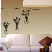 Vinyl Wall Decal Sticker Hanging Flower Vases #OS_DC671