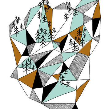 Geometric mountain print - 8 x 11.5 - A4