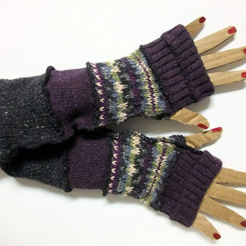 Arm Warmers, Fingerless Gloves with Thumb Holes, Black/Bright Stripes