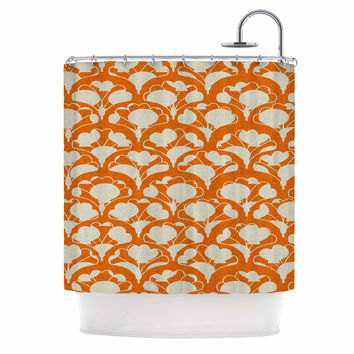 "Michelle Drew ""Art Deco In Orange"" White Shower Curtain"