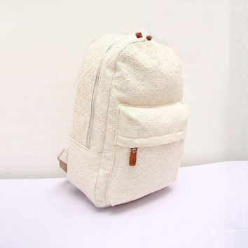 Lady Backpacks Cute Girls Lace Canvas Backpack Bag Schoolbag Bookbag White Black Elegant CF