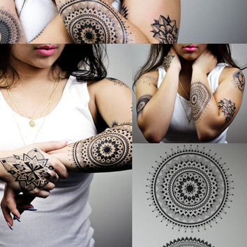 Henna and Mandala Temporary Tattoos / Geometric Body Art Design