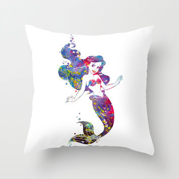 Little Mermaid Watercolor Throw Pillow by Bitter Moon
