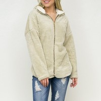 Fuzzy Zip Up Jacket