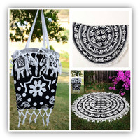 Tapestry & Carry Bag Combo - Round Black White Elephant Mandala Bohemian Tapestry