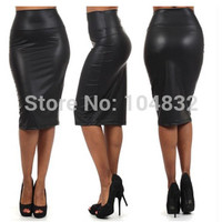 East Knitting 2015 SK006 New  PU  Pencil Skirt  Leather Black Skirt Women Clothing Slim Skirt  For Free Shipping