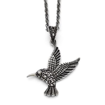 Marcasite Hummingbird Necklace in Antiqued Stainless Steel, 18 Inch