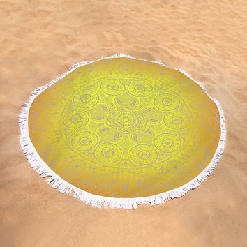 Round Beach Towel Sunshine Mandala Yellow Orange Boho Bohemian Large Beach Blanket India Indian Pattern
