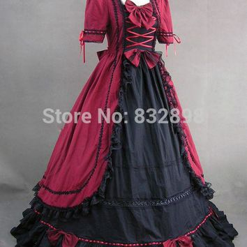 Red and Black Renaissance Gothic Lolita Dress Ball Gown Prom Steampunk Dress Cosplay Costum