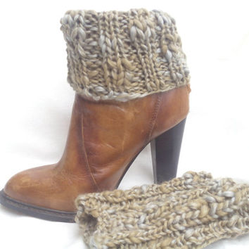 Knit boot cuffs, knit legwarmers, knit boot cuff, perfect gift, merino wool,boot cuff shock, winter trends, grey/camel wool, covers boots