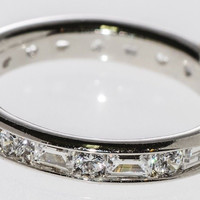 Sterling Silver Band CZ Ring 4mm Cubic Zirconia AAA Grade CZ Stones