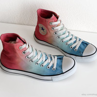 Light blue to coral red ombre dip dye Converse sneakers, upcycled vintage All Stars, high tops, size 39.5 (UK 6.5, US wo's 8.5, US mens 6.5)