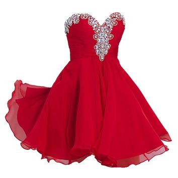VILAVI Women's A-line Sweetheart Short Chiffon Rhinestone Homecoming Dresses