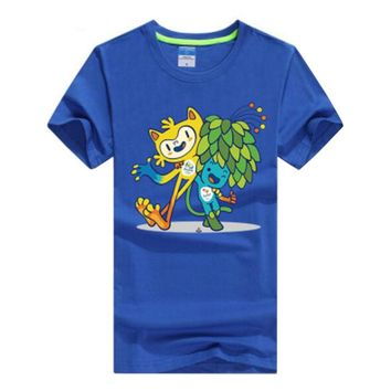 Commemorative Tees Rio 2016 Olympic Games Round Neck T-Shirt Mascot-XXL Blue