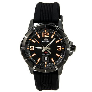 Orient UNE900AB Men's SP Black IP Steel Orange Accent Black Dial Rubber Strap Watch