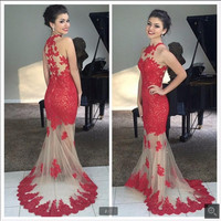 See Through Mermaid Prom Dresses 2016 Red Appliques formal sexy prom gowns floor length cheap prom dress best selling
