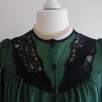 Vintage emerald green peignoir negligee and babydoll nightgown set in sheer chiffon and lace