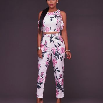 Floral White Crop Top and Matching Pants Set