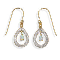 Gold Plated Brass Earrings with Opal and Diamond Accents
