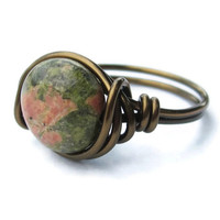 Unakite Ring - Earthy Jewelry - Custom Size Wire Wrapped Rings