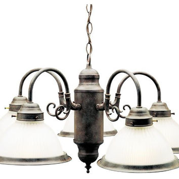 Five-Light Indoor Chandelier, Sienna Finish with Frosted Ribbed Glass